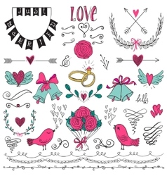 Wedding graphic set arrows hearts birds bells vector