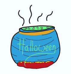 Witches cauldron with potion isolated vector