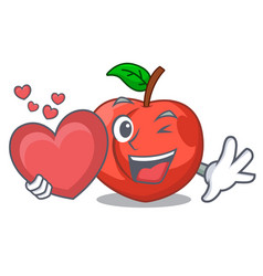 With heart cartoon fresh sweet nectarines in the vector