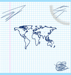 world map line sketch icon isolated on white vector image