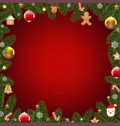 xmas border with fur tree vector image