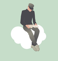 Young man reading sitting on a cloud vector