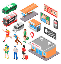 bus terminal isometric set vector image vector image
