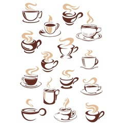 Set of steaming hot cups of coffee vector image vector image