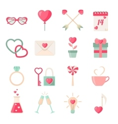 Set of Valentines day icons elements collection vector image