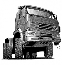truck engraving vector image vector image
