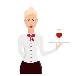 waitress portrait isolated on white background vector image vector image