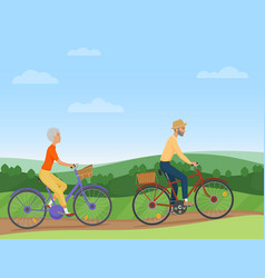 a senior couple riding the bikes in the vector image vector image