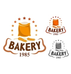Bakery emblem with flour and wheat ears vector image