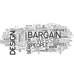 bargain web design services text word cloud vector image vector image