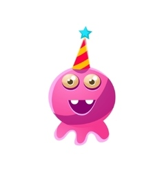 Pink Round Toy Monster In Party Hat vector image vector image