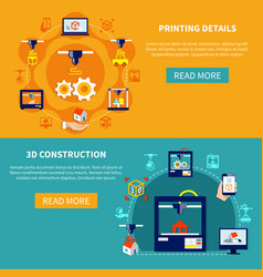 printing details and 3d construction horizontal vector image