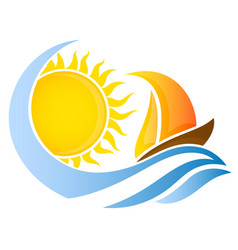 yacht on wave and the sun vector image