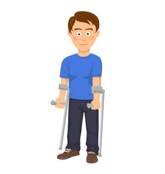 young man standing with crutches vector image