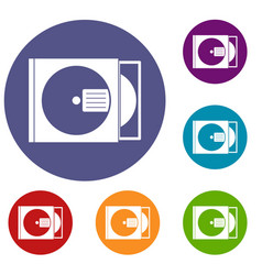 cd box with disc icons set vector image