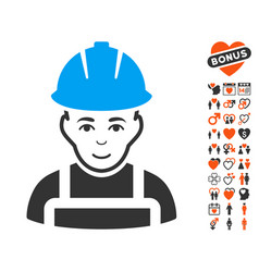 Glad worker icon with love bonus vector