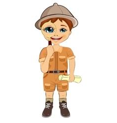 Kid explorer boy holding magnifying glass vector