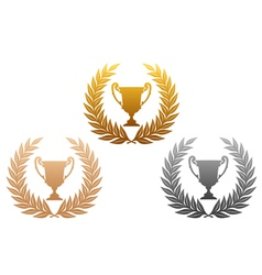 laurel wreath with trophy vector image
