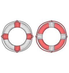 life buoy hand drawn sketch vector image