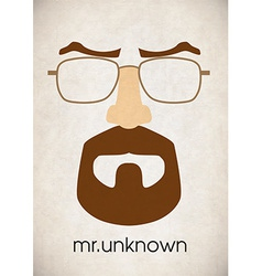 Mustache glasses eyebrows vector image