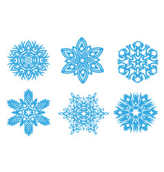 set of winter christmas blue snowflakes of vector image