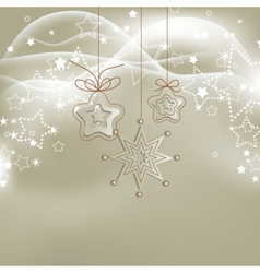 Silver lights Christmas background with stars vector image