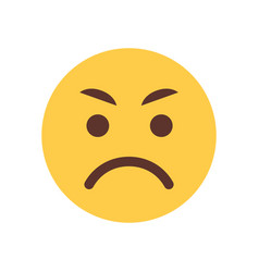 Yellow angry cartoon face emoji people emotion vector