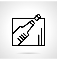 Champagne bottle black line icon vector image vector image