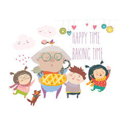 granny and her grandchildren with cake vector image vector image