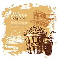Hand drawn vintage Movie and cinema background vector image
