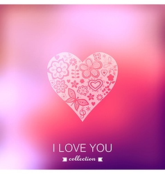 Valentines Day background Heart Blurred template vector image vector image