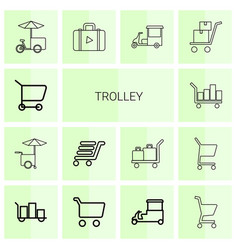 14 trolley icons vector