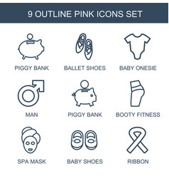 9 pink icons vector