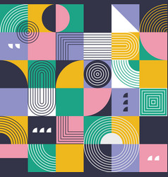 abstract seamless pattern grid with shapes vector image