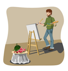 Artist drawing still life vector