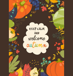 autumn nature frame fall season with vegetables vector image