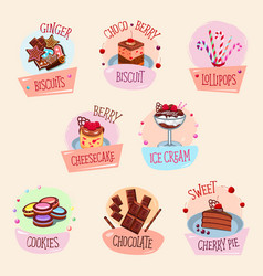 Bakery desserts cakes and ice cream vector