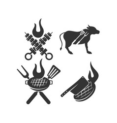 Barbecue grill beef spatula logo template badge vector