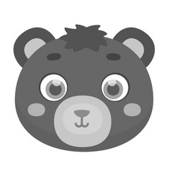 Bear muzzle icon in monochrome style isolated on vector
