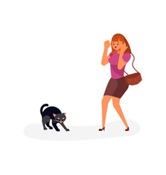 Black cat crosses road vector