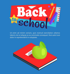 blue diary with place for name green apple vector image
