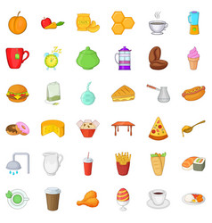 Breakfast icons set cartoon style vector