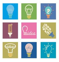 Bulb idea icons set vector