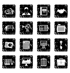 Business plan icons set grunge style vector image