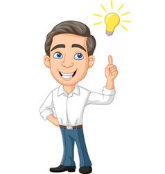 cartoon businessman with idea bulb vector image
