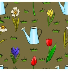 cartoon gardening seamless pattern with spring vector image