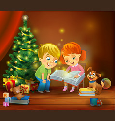 Christmas miracle - kids reading the book beside vector