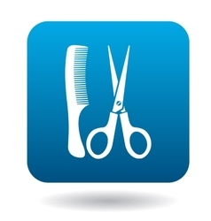 Comb and scissors icon simple style vector image