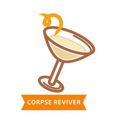 Corpse reviver cocktail with bend straw isolated vector