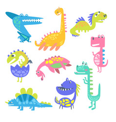 Cute funny dinosaurs collection of prehistoric vector